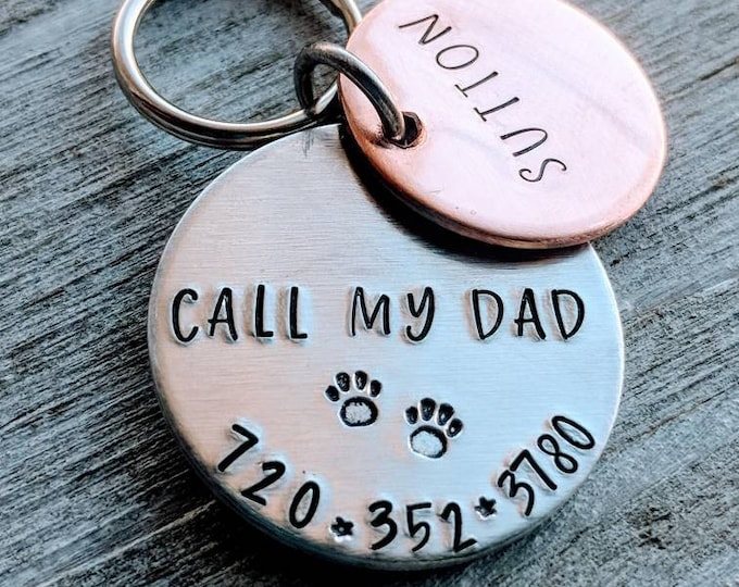 Pet ID name tags with phone number. Mixed metal. Pet identification. Dog tag. Cat name tag. Call my mom! Lost pet. Call my dad!