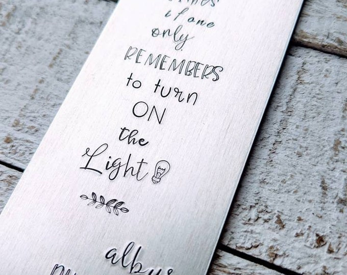 """Happiness can be found..."""" Hand stamped aluminum bookmark. Wizard. Fan fiction. Children's books. book lover. book nerd. book worm."""
