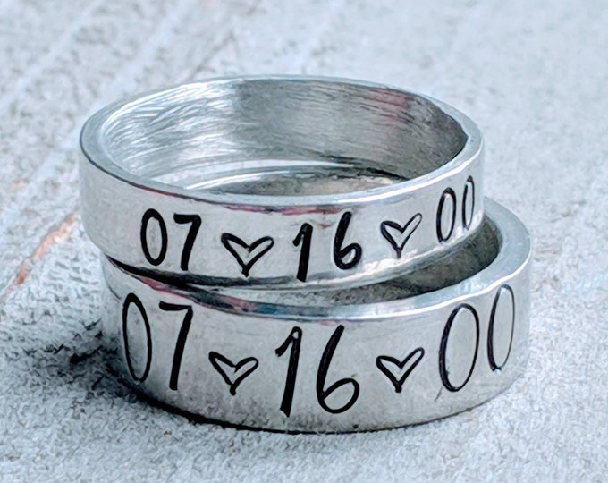 Couple's Rings/ Anniversary Present/ Mr & Mrs. / his and hers Pewter Rings. stackable rings. Lover's rings. Valentine's Day. Wedding.