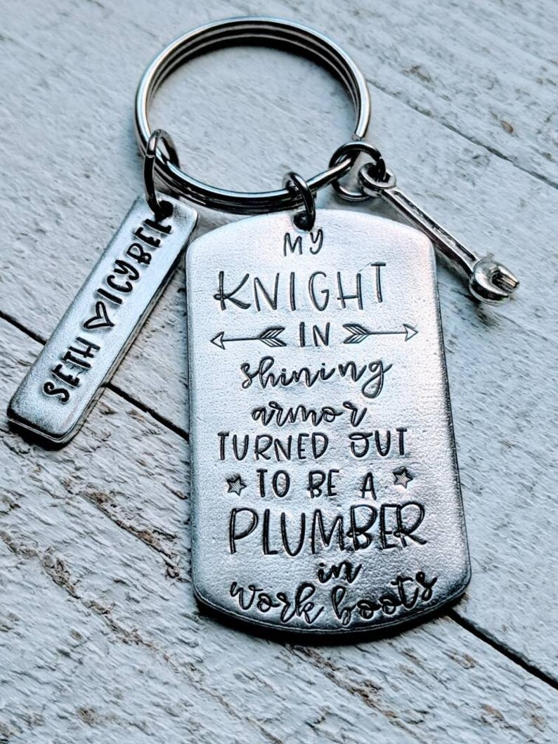 Plumber Husband Plumbing Gift for hubby My knight in shining armor turned out to be a plumber in work boots Plumber wife Valentines day