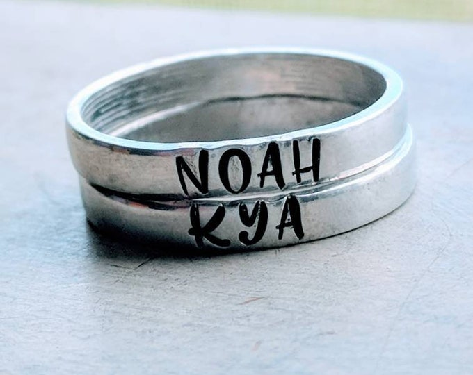 Stackable Mom Rings 3mm, Customized. Gift for her, Mother's Day. Stamped rings. Children's names. Pewter ring. Wife. Mom. Birthday.