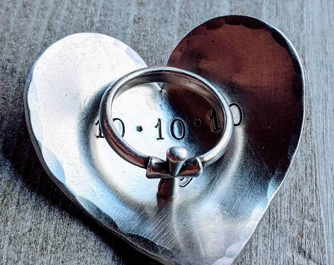 Ring dish. Personalized ring holder. Stamped trinket holder. Trinket dish. 10 Year Anniversary Gift. Aluminum. 10th anniversary.