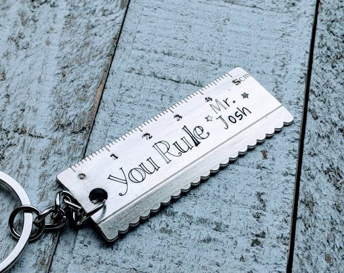 Teacher gift for man. Male Teacher Appreciation Keychain End of year gift. You rule. Ruler.