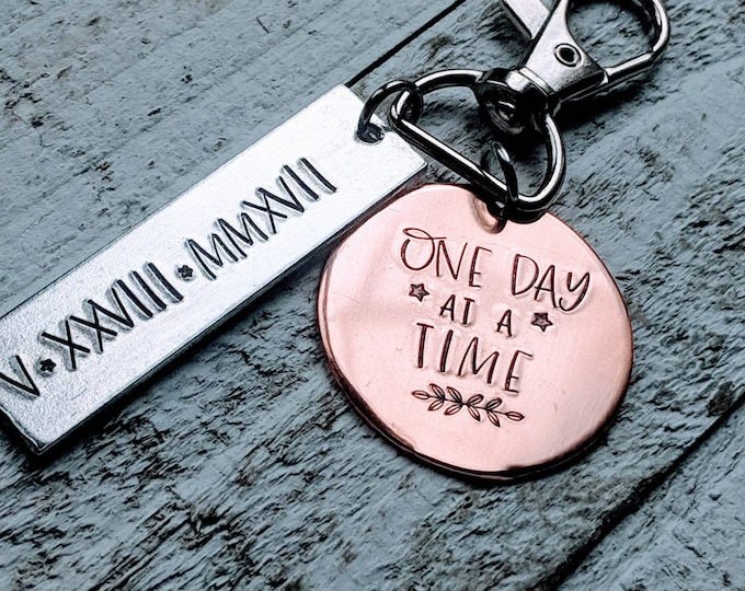 Sobriety Date Calendar Key Chain/ Sober/ Clean and Sober/ AA/ One day at a time/ Motivation/ Alcoholics Anonymous/ NA/ Sober Birthday