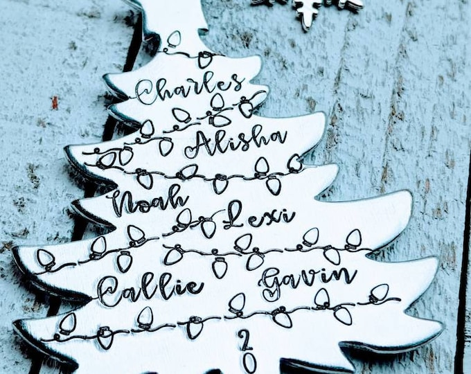 Family Ornament. Hand Stamped Christmas Tree Yearly ornament. Christmas.