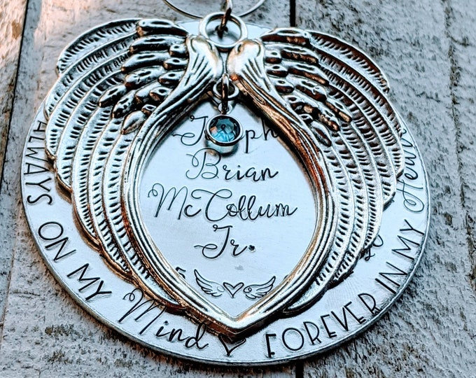 Always on our minds. Forever in our hearts. Hand stamped memorial ornament. Baby Loss. Stillborn. Infant Death. Death of child. Child loss.