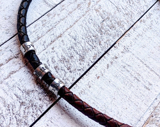 Stamped woven necklace for men. Valentine's gift. Leather necklace. Unisex Necklace. Kids names. Father's day. Dad necklace.