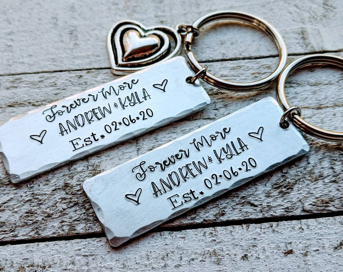 Forever More/ Valentine's Day/ Couple's Keychains/ Anniversary Present/ Established