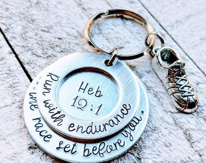 Run with Endurance the race set before you. Hebrews 12:1 Keychain. Workout. Fitness. Runner. Marathon runner. Strength.