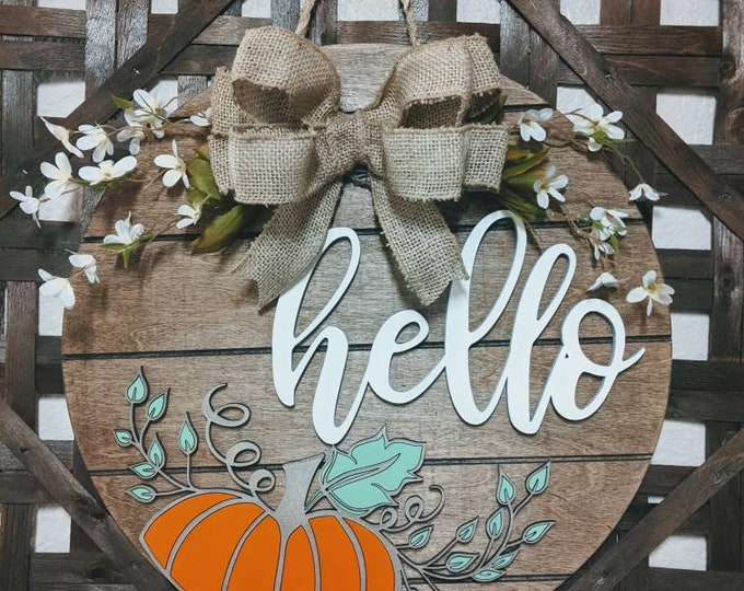 Fall Sign. Pumpkin Sign. Large Custom Wood Sign. Hello sign.