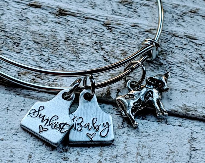 Tiny Ear tag bracelet Cow Cattle Pig Sheep Goat Show. 4H. Agriculture. Farming Jewelry.