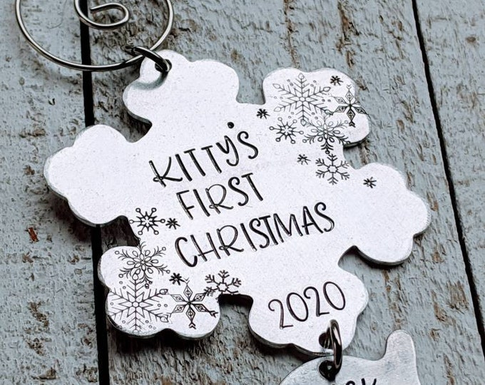 Kitty's First Christmas. New kitty. Pet ornament. Christmas Ornament. Pet Christmas. Hand stamped. Cat ornament.