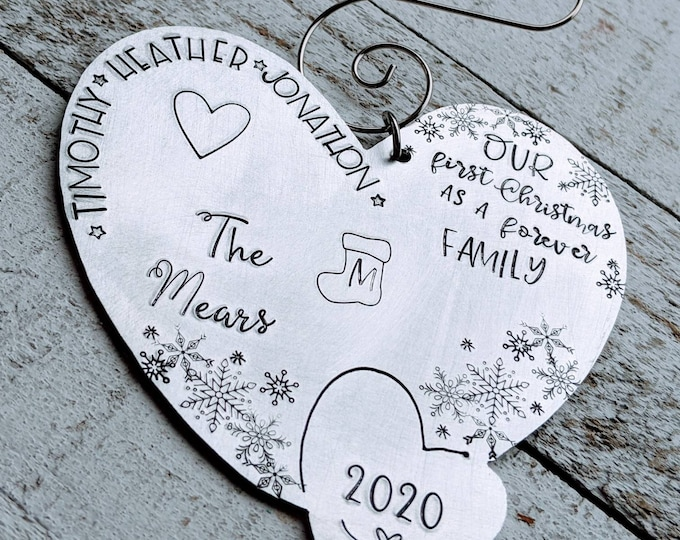 Forever family Christmas. Hand Stamped Adoption Ornament. Christmas Ornament. Foster care. Adopted.