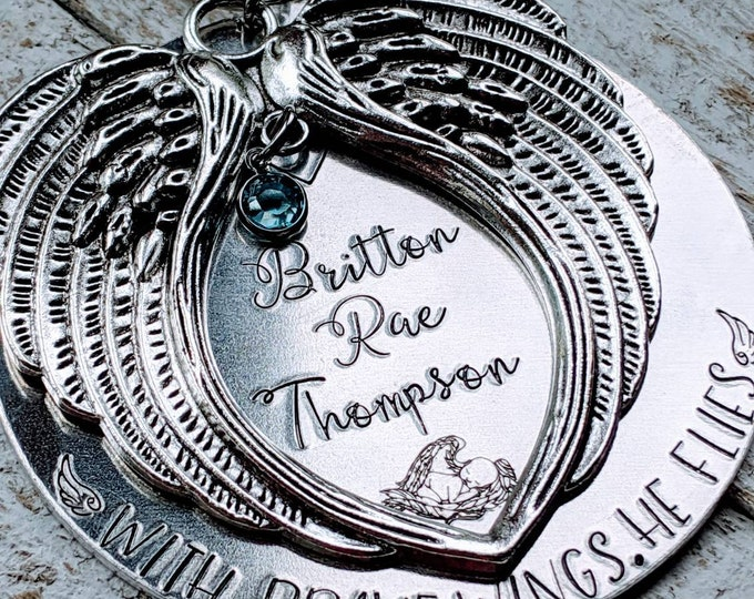 With brave wings, she flies. Hand stamped. Baby Loss. Stillborn. Infant Death. Death of child. Child loss.