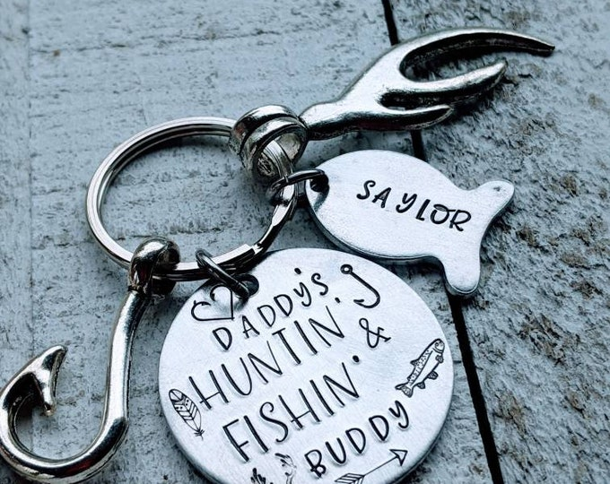 Daddy's Hunting and Fishing Buddies with Hook and Antler Charms and Fish Hand Stamped with your Kid's Names.