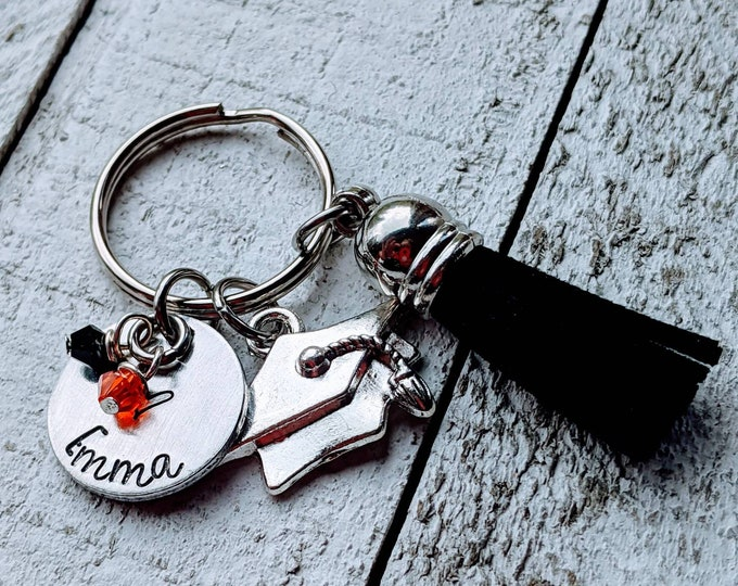 Graduation. Hand Stamped keychain for student. 2020 grad. School colors. Graduate. High school. College. College bound.