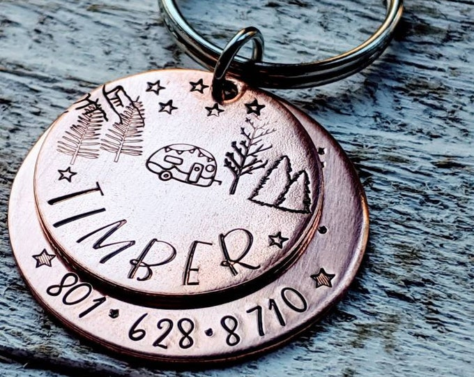 Pet ID Tag Hand Stamped Copper. Lost Pet. Pet Name Tag. Dog Tag. Stacked Copper