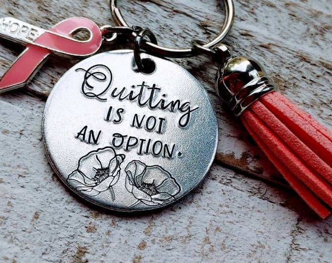 Cancer. Gift for Heroes. Quitting is not an option. Survivor. Failure is not an option. Losing is not an option. Ribbon. Awareness. Pink.
