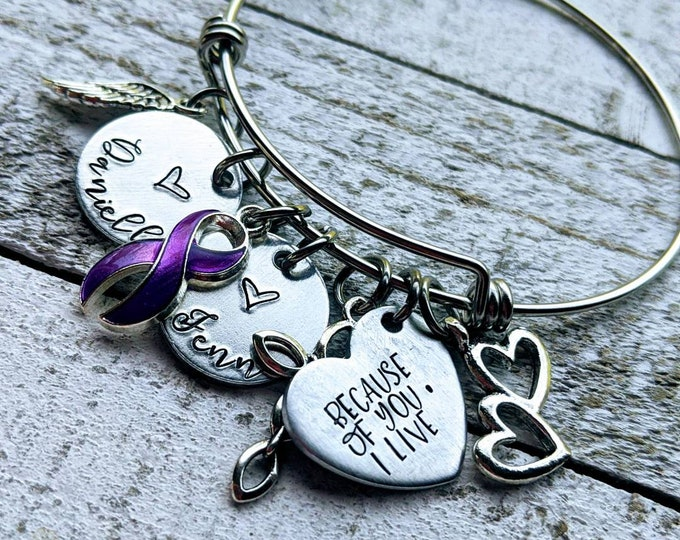 Because of You Bangle Bracelet. Organ Donor. Bone Marrow Donor. Gift for Heroes. Organ donation. Gift of life.