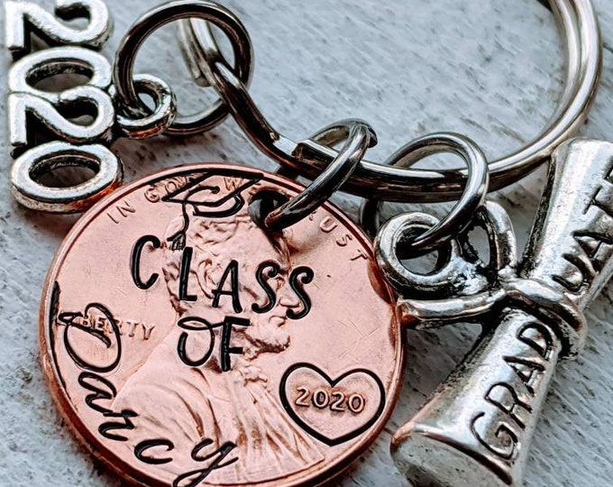 Graduation Hand Stamped penny. Gift for college or high school graduate. 2020 grad. Student gift. 2020 graduation.