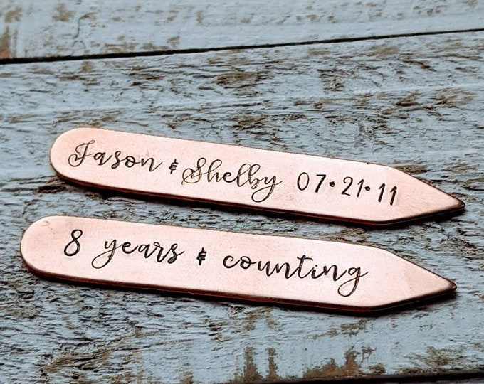 Collar stays. Bronze. 8th anniversary. Man gift. 19th anniversary. Gift for guy. groom wedding present. Traditional wedding anniversary.