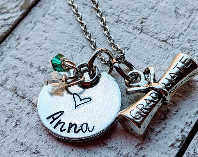 Graduation. Hand Stamped necklace for daughter. 2020 grad. School colors. Graduate. High school. College. College bound.