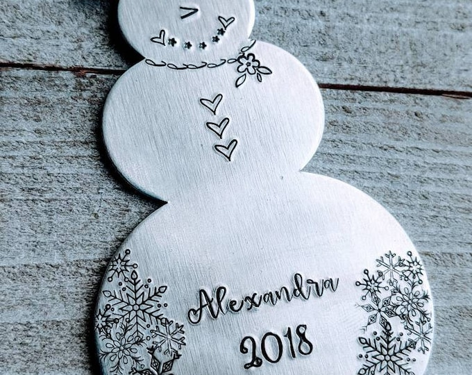 Baby's First Christmas. Snowman. Hand Stamped Ornament. Kid ornament. Yearly ornament. New baby.