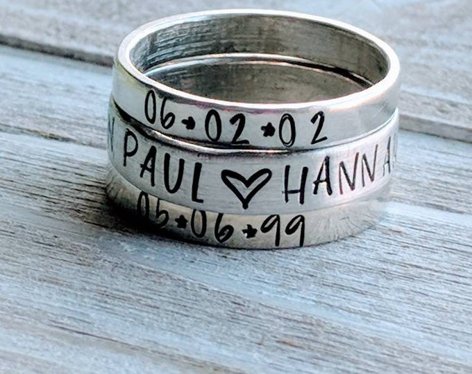 Stackable Mom Rings. Gift for her, Mother's Day. Stamped rings. Children's names. Pewter ring. Wife. Mom. Birthday.