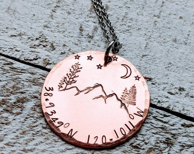 Latitude Longitude Coordinates Necklace. Copper necklace. Gift for her. Couple gift. Anniversary. Where we met. Copper