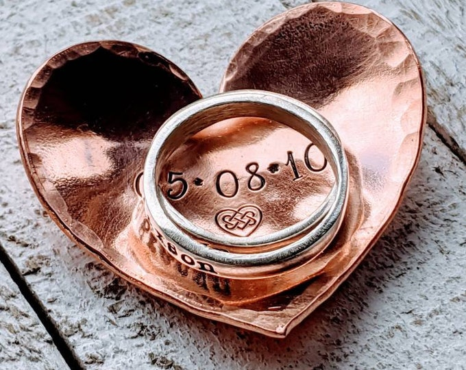 Ring dish. Personalized ring holder. Stamped trinket holder. Trinket dish. 7 Year Anniversary Gift. Copper. 7th anniversary.