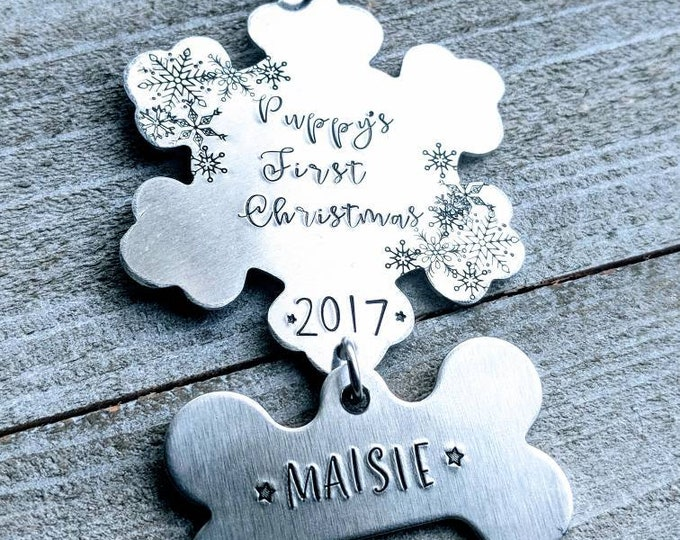 Puppy's First Christmas. New Puppy. Pet ornament. Christmas Ornament. Pet Christmas. Hand stamped.