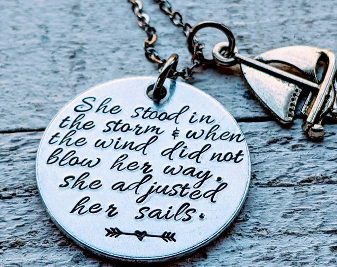 She stood in the storm necklace. Inspiration quote. Elizabeth Edwards. Daughter gift.