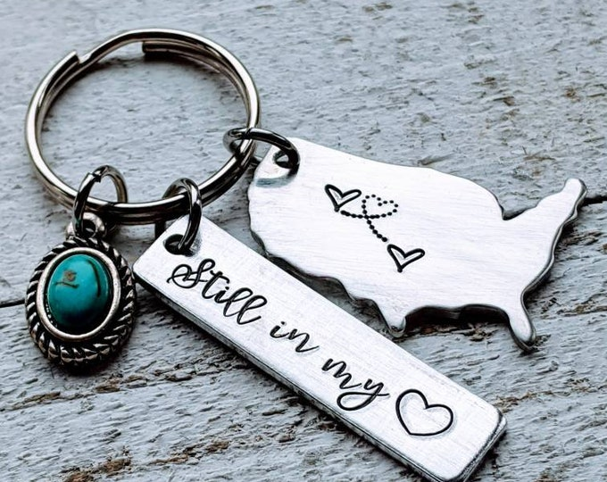 """USA """"Home"""" keychain. Bestie gift. Best friend necklaces. Living apart lovers. Long distance relationships. USA necklace. America."""