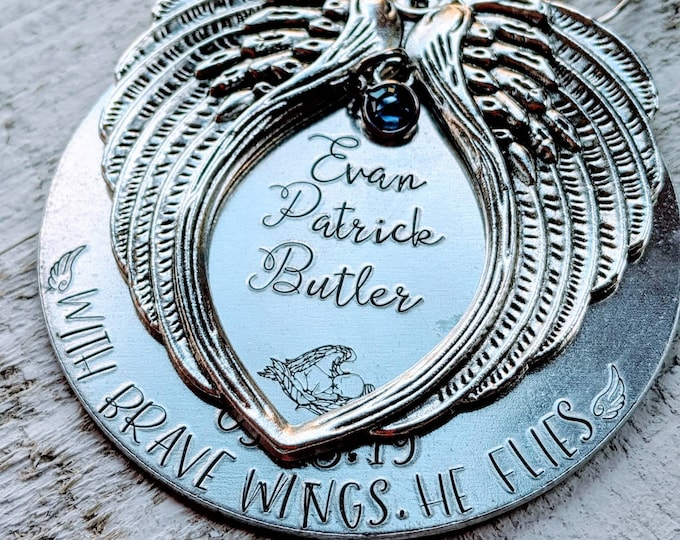 With brave wings, he flies. Hand stamped memorial ornament. Baby Loss. Stillborn. Infant Death. Death of child. Son death. Child loss.