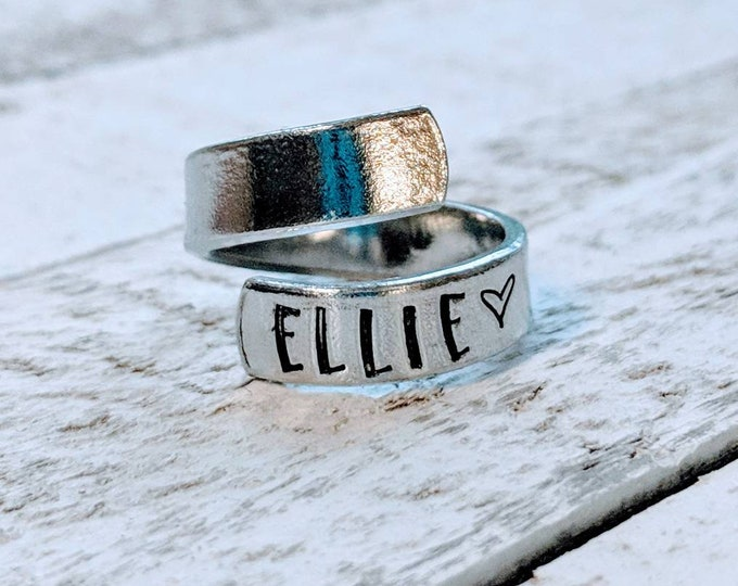 Wrap Ring, mom ring, Customized. Gift for her, Mother's Day. Stamped rings. Children's names. Wife. Mom. Birthday.