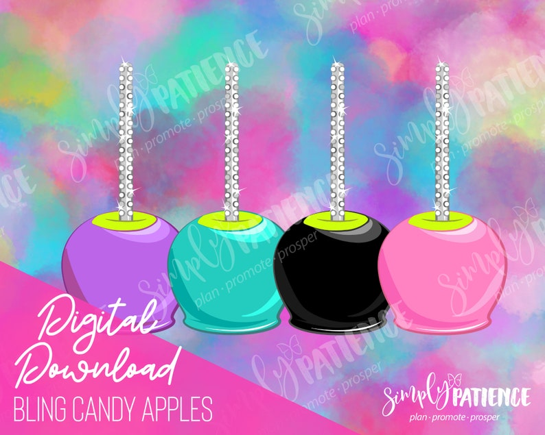 Digital and Printable Bling Candy Apple Planner Stickers image 0