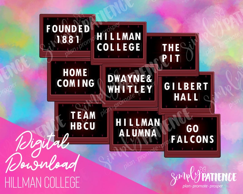 Digital and Printable Hillman College HBCU Planner Stickers image 0