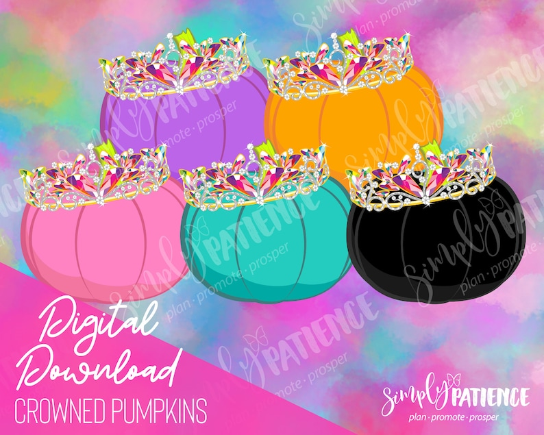 Digital and Printable Crowned Pumpkin Planner Stickers image 0