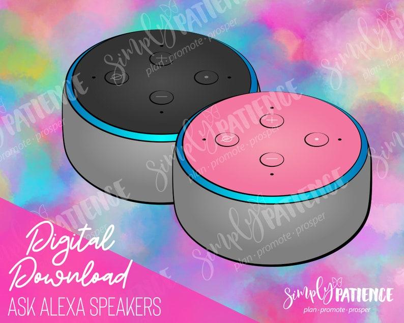 Digital and Printable Ask Alexa Speaker Planner Stickers image 0