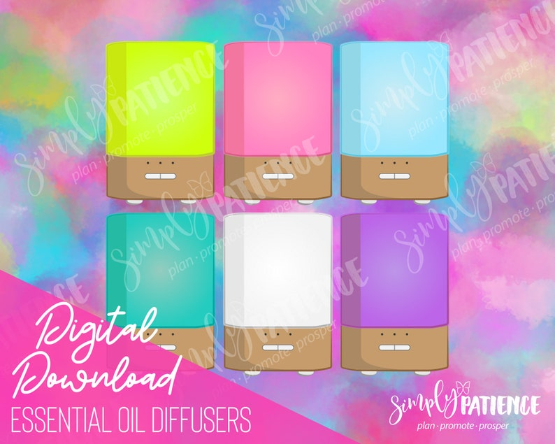 Digital and Printable Essential Oil Diffuser Planner Stickers image 0