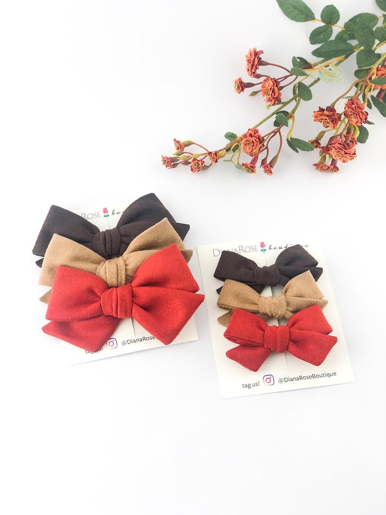 OVERSIZED SUADE FALL bows Schoolgirl Suade Bow Baby Headband Nylon Headband Clip Hand-tied Hair Bow Soft ClassicGirl Newborn Toddler