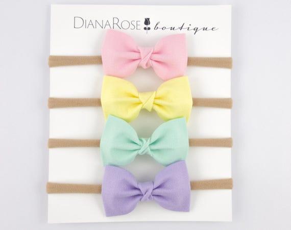 Summer Pastel Baby Headband Fabric Headband Hair Bow Nylon  0102d9ea964