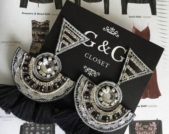 Black Tassel Earring, Long Fringe Earring, Statement Earrings, Boho Threader Earrings, Wedding Earrings, Bridesmaid Earrings, Gift for her