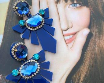 Acrylic Earrings, Geometric Earrings, Statement Earrings, Big Earrings, Gift for Her,Colorful Earrings,Blue Earrings,Modern Earrings,Jewelry
