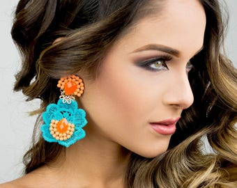 Mint Statement Earrings, Flower Earrings,  Chandelier Earrings, Colorful Jewelry, Lace Earrings, Tatted, Boho Earrings, Bohemian Earrings