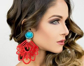 Red Statement Earrings, Large Chandelier Earrings, Lace Earrings, Drop Earrings, Jewelry designs, Christmas Earrings , Christmas Jewelry