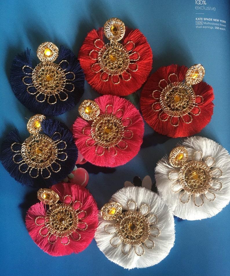 6f7dad14a Red Flower Earrings Best Friend Gift Spring Earrings Tassel | Etsy