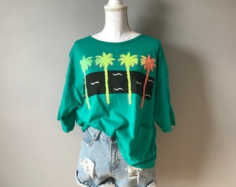 Vintage Neon Puff Print Graphic Tee / Oversized Neon 80's TShirt / Vintage Neon Palm Tree Graphic T-Shirt / One Size