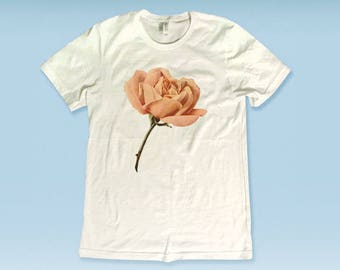 Vintage Rose Oversized Graphic Tee -White Shirt - Black Tee - Bff Tees - Best Friend T-Shirts