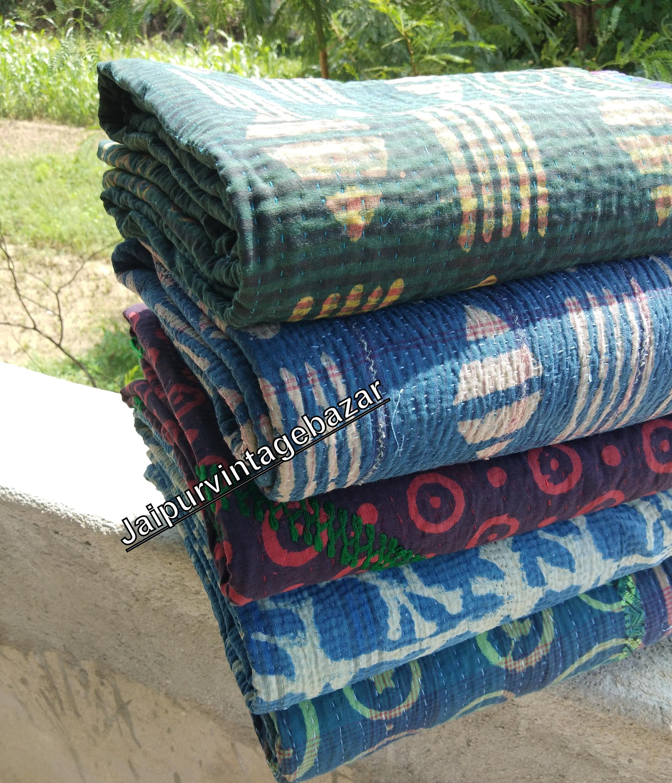 5 Pcs Lot vintage Indigo Kantha Quilt Réversible Sari Kantha Quilt Indigo Throw Bed Spread Twin Size